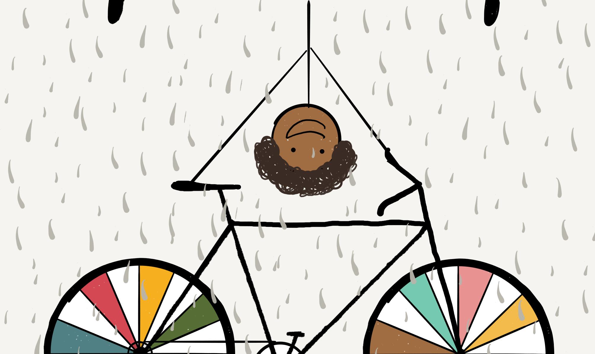 Bike + rain = smile