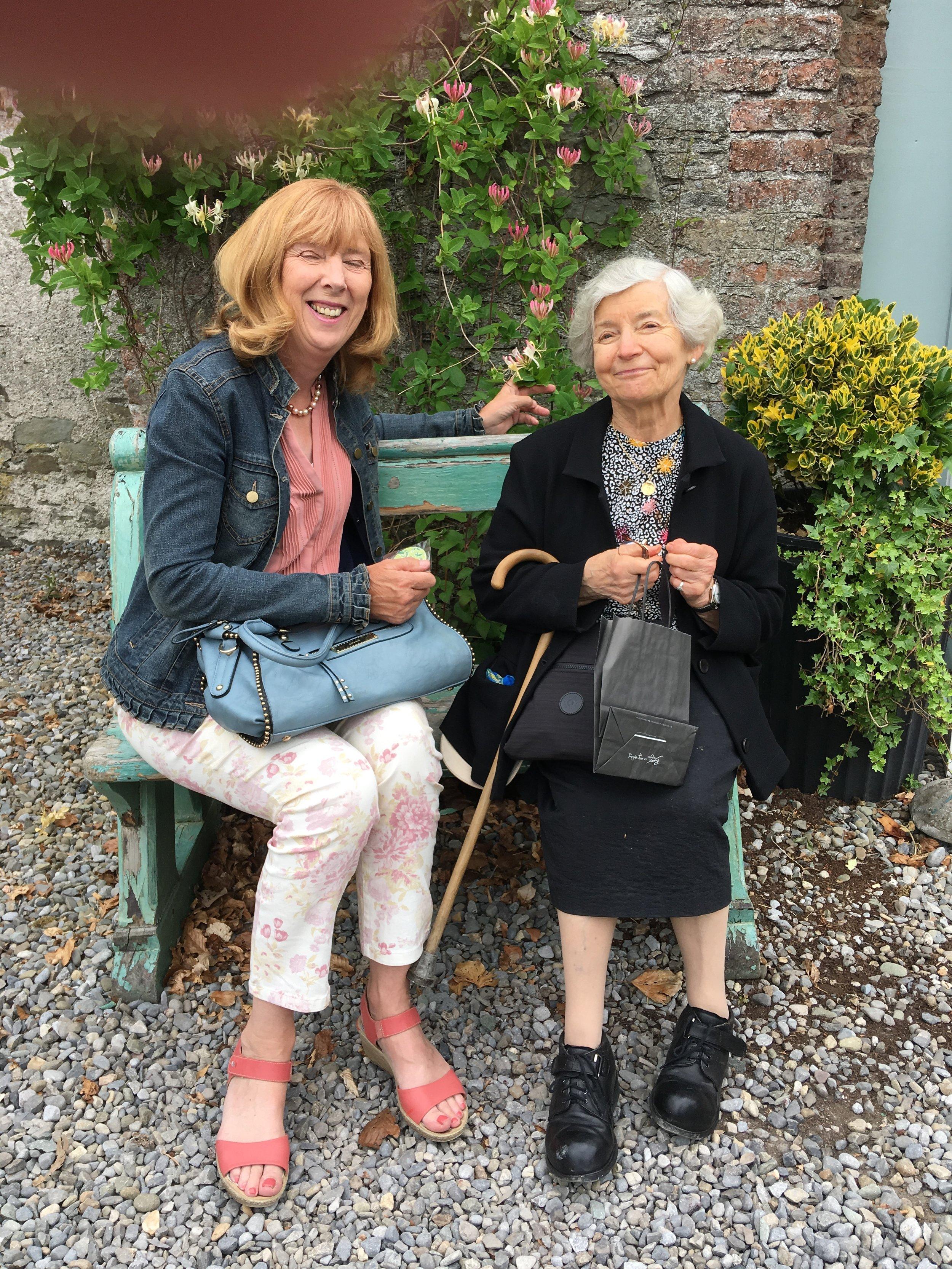 Niamh and Bernadette enjoy a quiet moment in the garden