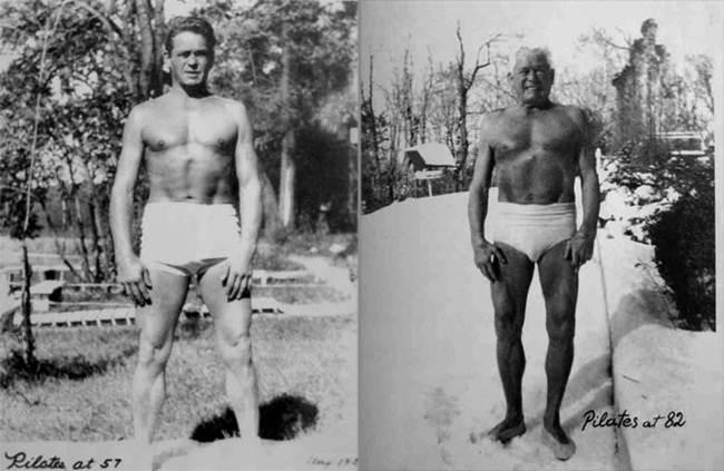 Joseph Pilates  com  57 anos  (esquerda) e com  82 anos  (direita).