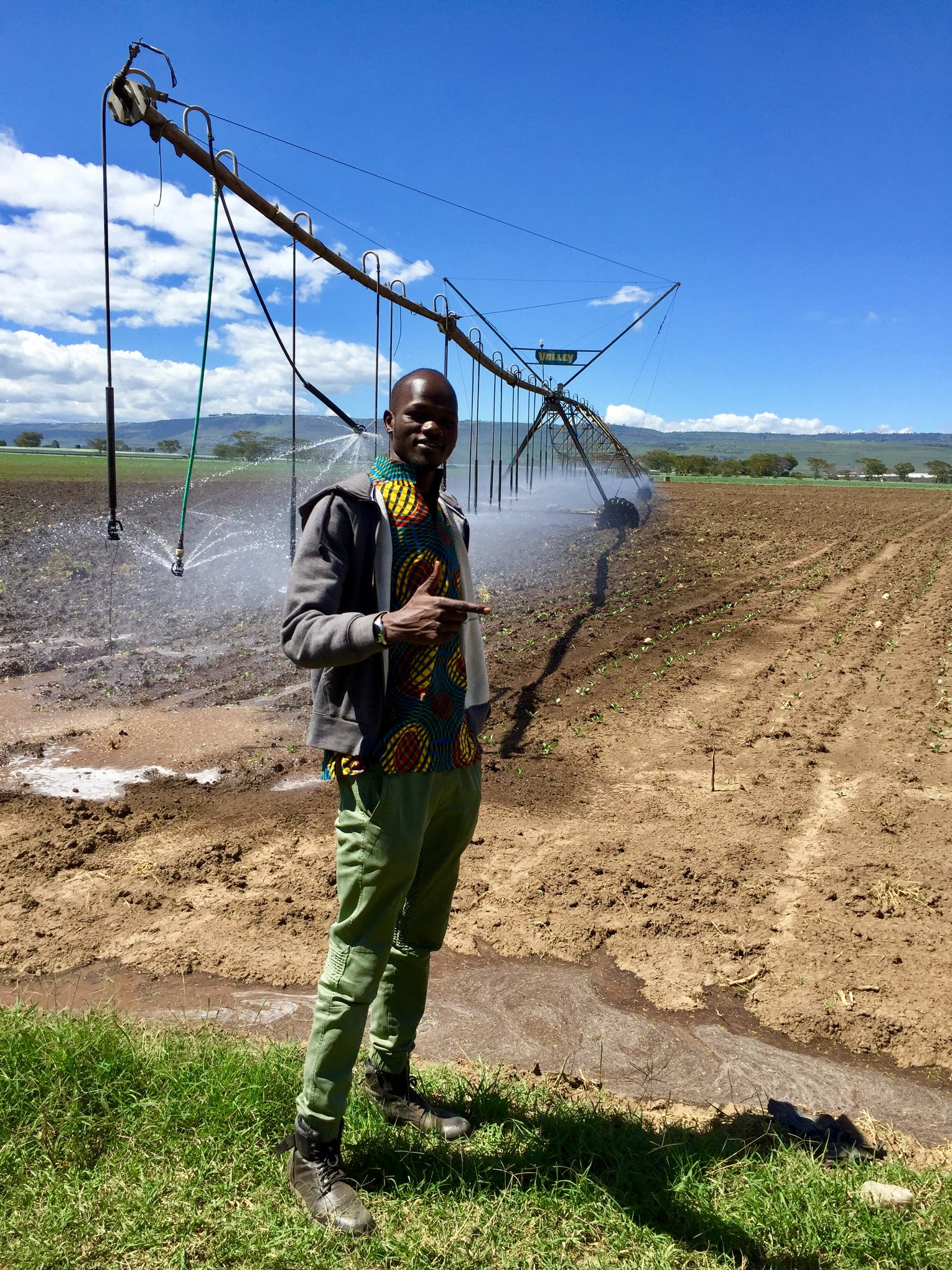James Madhier touring farming facilities to learn about efficient water use in agriculture in preparation for the launch of the Rainmaker Enterprise's pilot site.