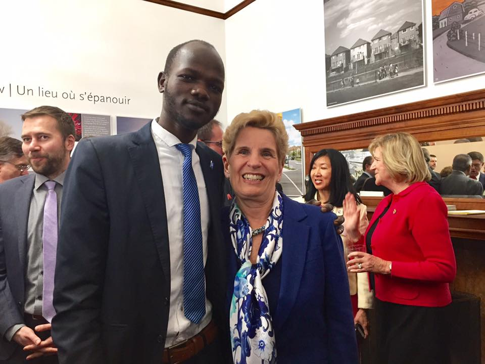 James with Ontario Premier Kathleen Wynne, discussing how to bring Canadian leadership to the forefront on the global water crisis.