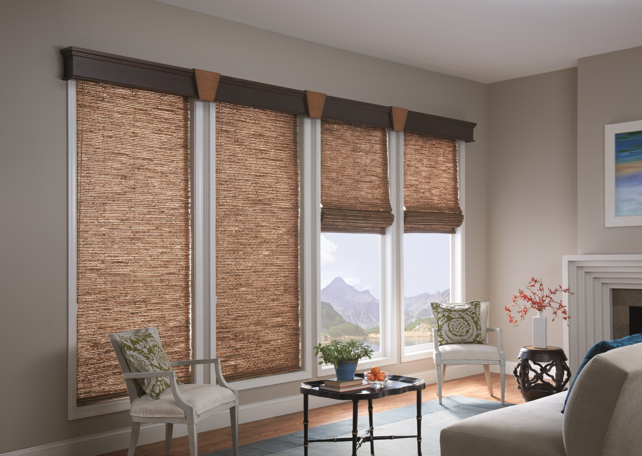 Natural Shades allow a cultivated sophisticated style with on-trend colors and textures, while providing a renewable, rustic look that feels exciting and new.  Environmentally-friendly materials are used to help incorporate green products into homes.