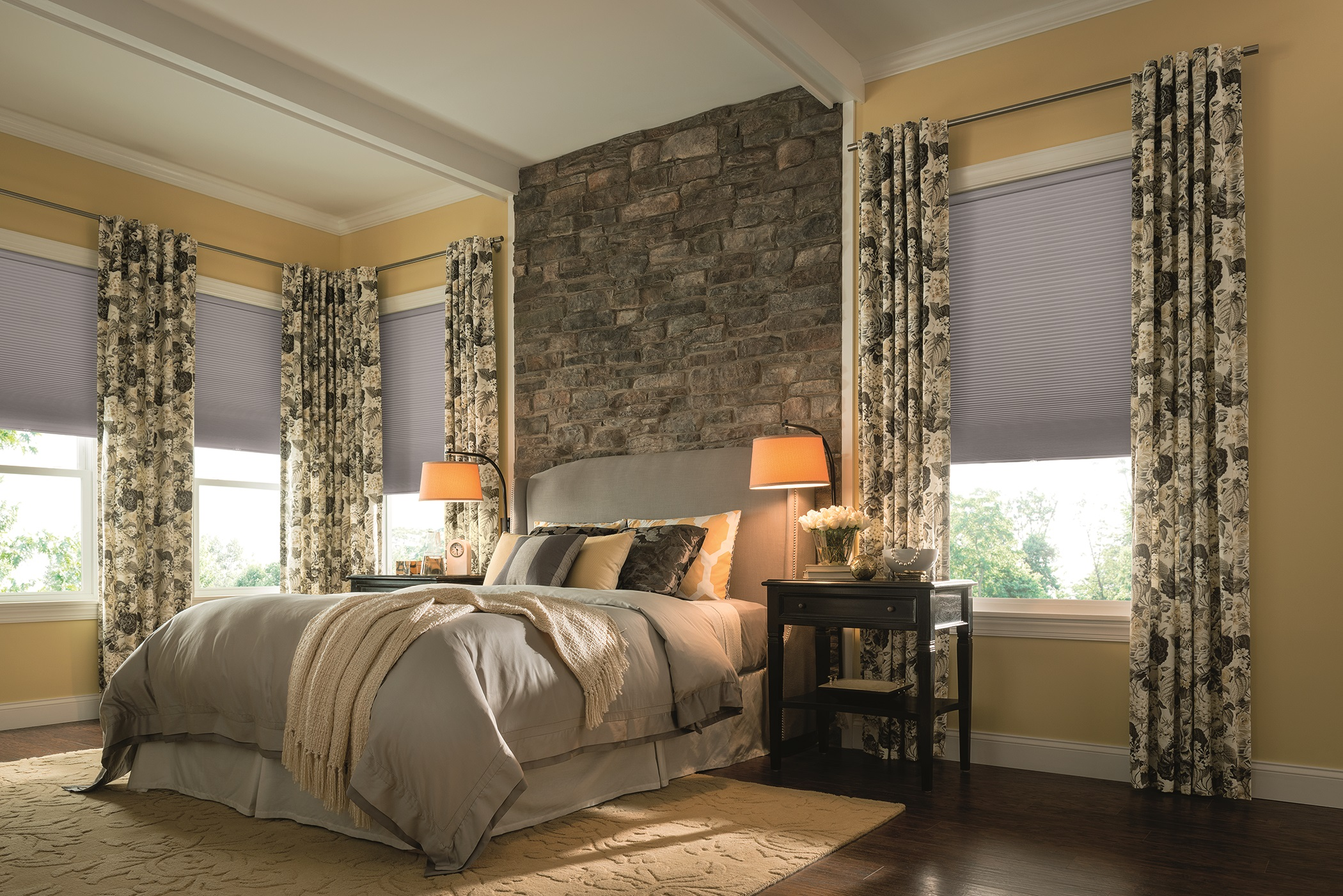 From fresh, exciting fabrics to expanded, simplified valance designs to elegant, popular drapery styles, design your home with creative combinations of these soft goods with traditional blinds, shutters, and shades.