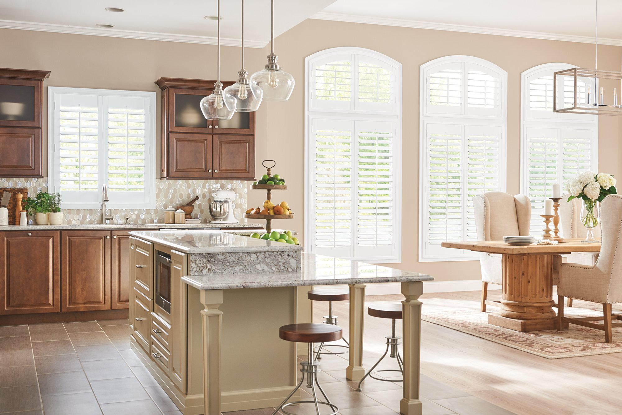 Composite shutters are durable and designed to resist fading, cracking, and peeling.  Composite shutters are a much heavier product than wood shutters but offer a cost effective alternative to wood shutters.