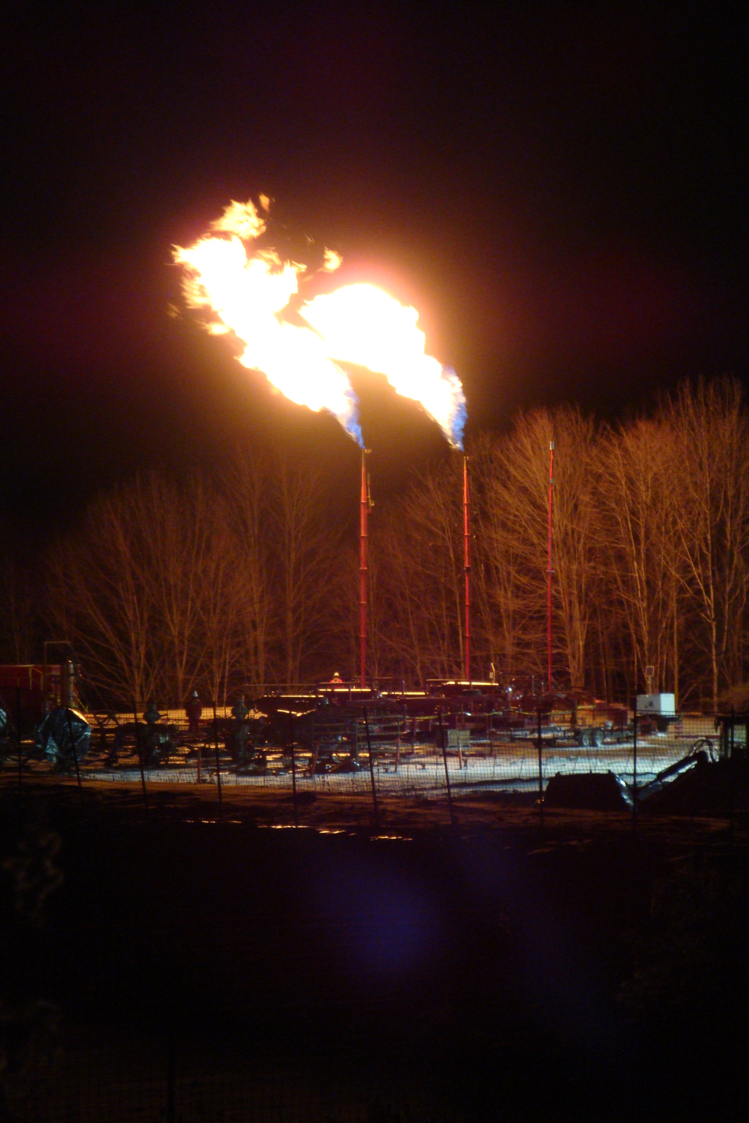 Gas flare at night.