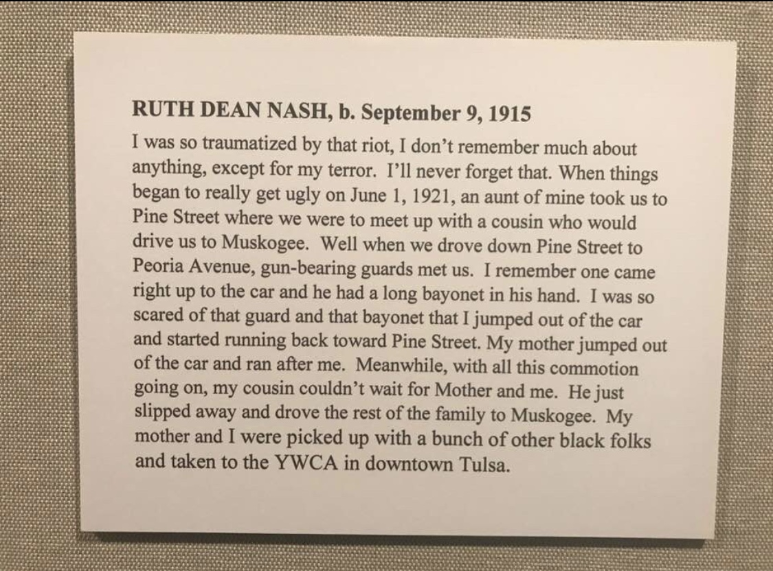 Mama Ruth's experience during the 1921 Tulsa Race Massacre, in her own words. This account, along with a portrait of my grandmother hangs in a gallery at the Greenwood Cultural Center in Tulsa, Oklahoma.