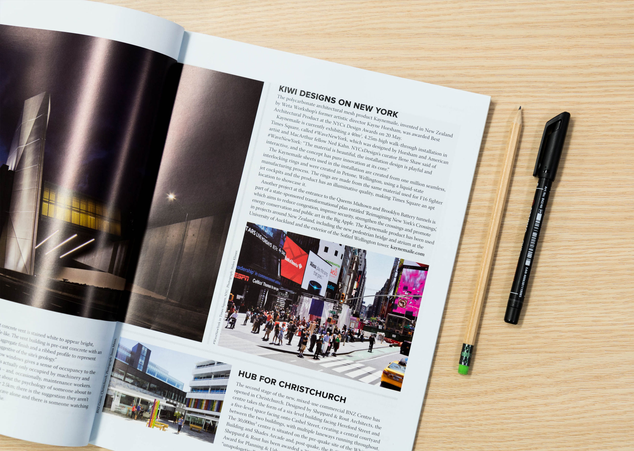 Kiwi Designs on New York Kaynemaile feature in July issue of Architecture NZ magazine