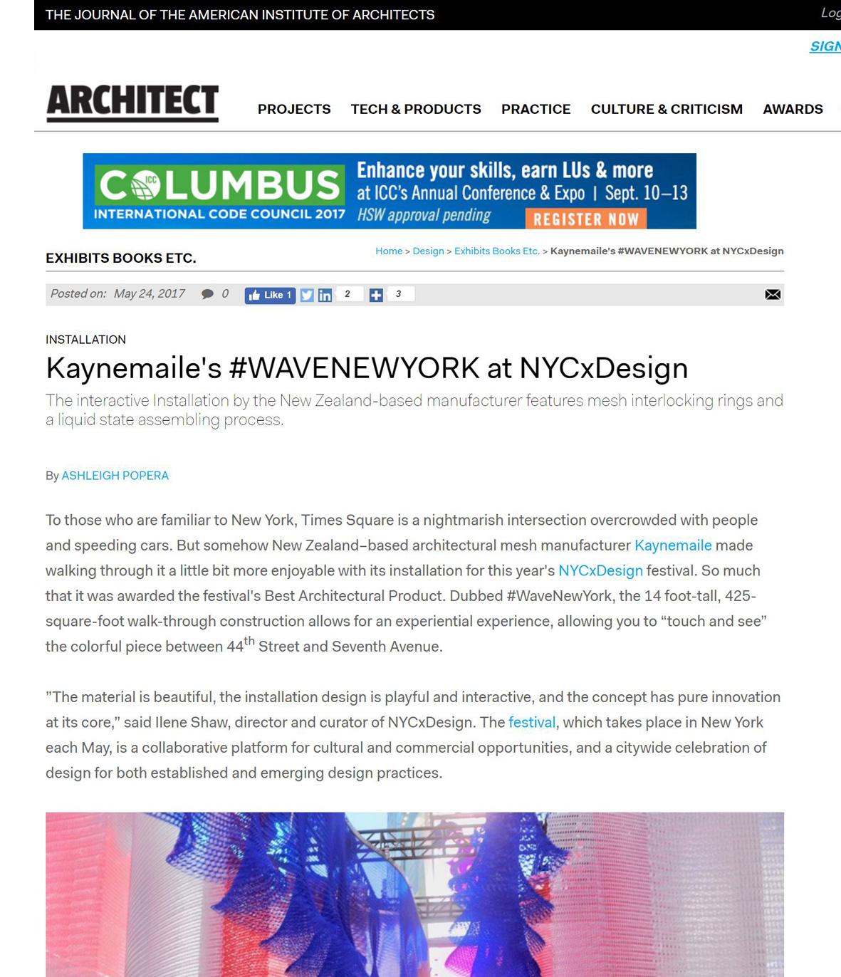 Architect: Kaynemaile's #wavenewyork at NYCxDesign