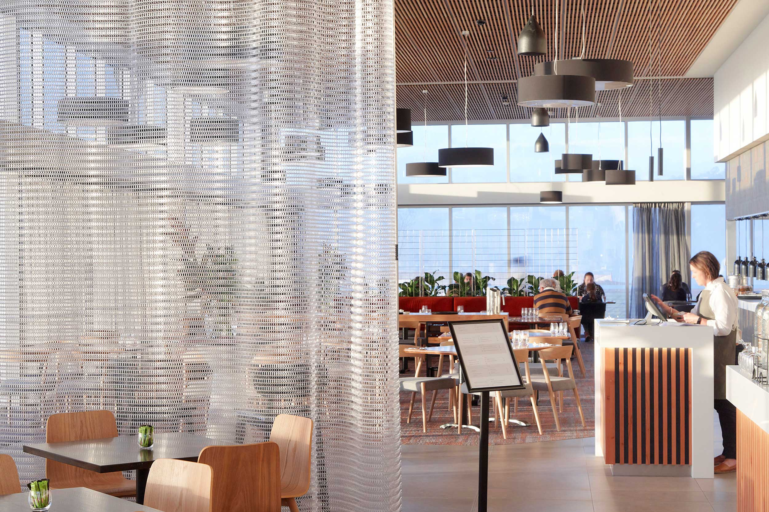 Folding Screens   Kaynemaile folding screens can be used to divide spaces temporarily then retracted when not needed. They are ideal for creating smaller, more intimate spaces within big open plan areas. A locking system can be added depending on your requirements.