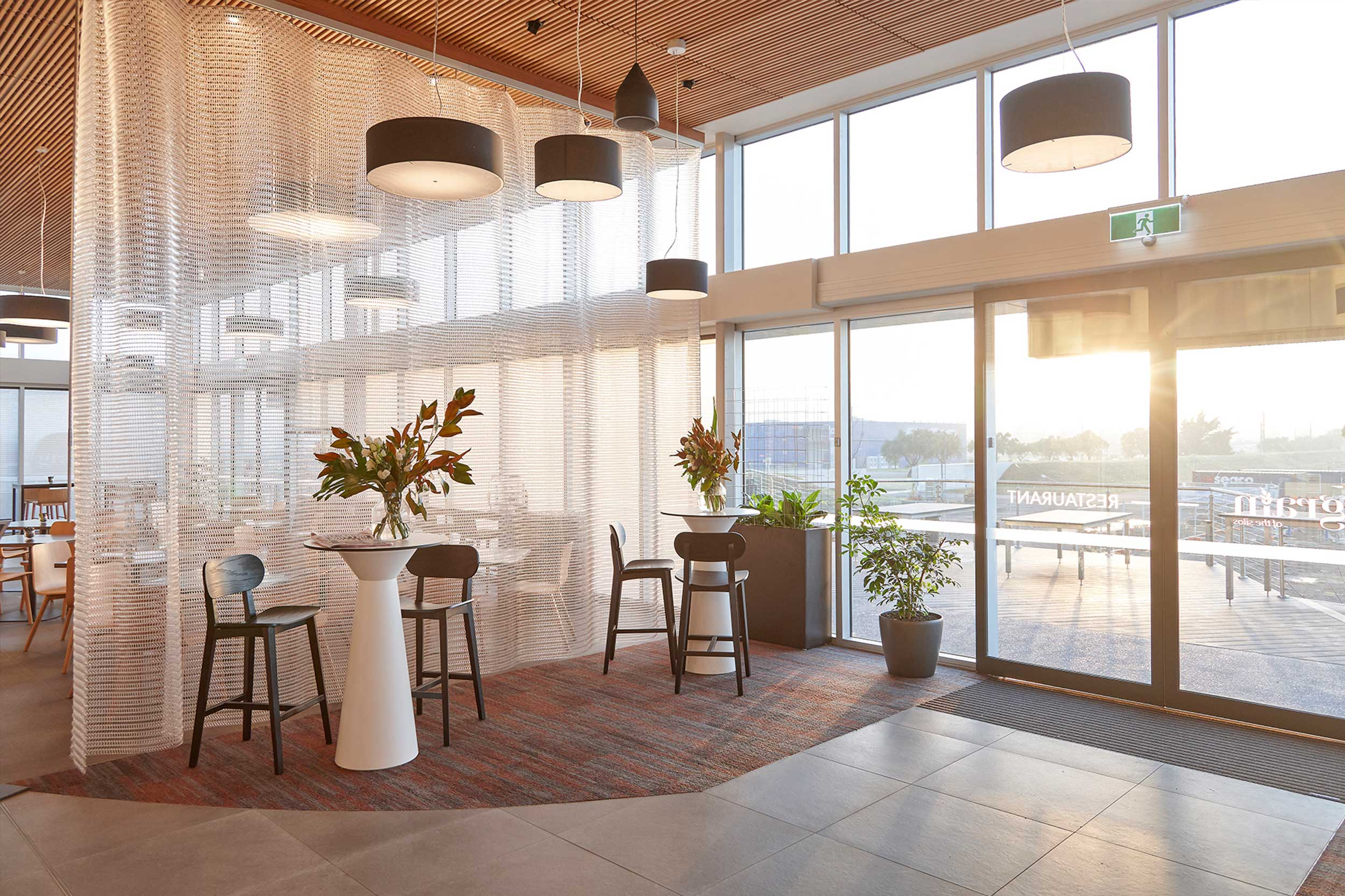 Folding Screens   Kaynemaile folding screens can be used to divide spaces temporarily then retracted when not needed. They are ideal for creating smaller, more intimate spaces within big open plan areas. Perfect for restaurants and bars, open plan offices or event spaces where flexibility is required.