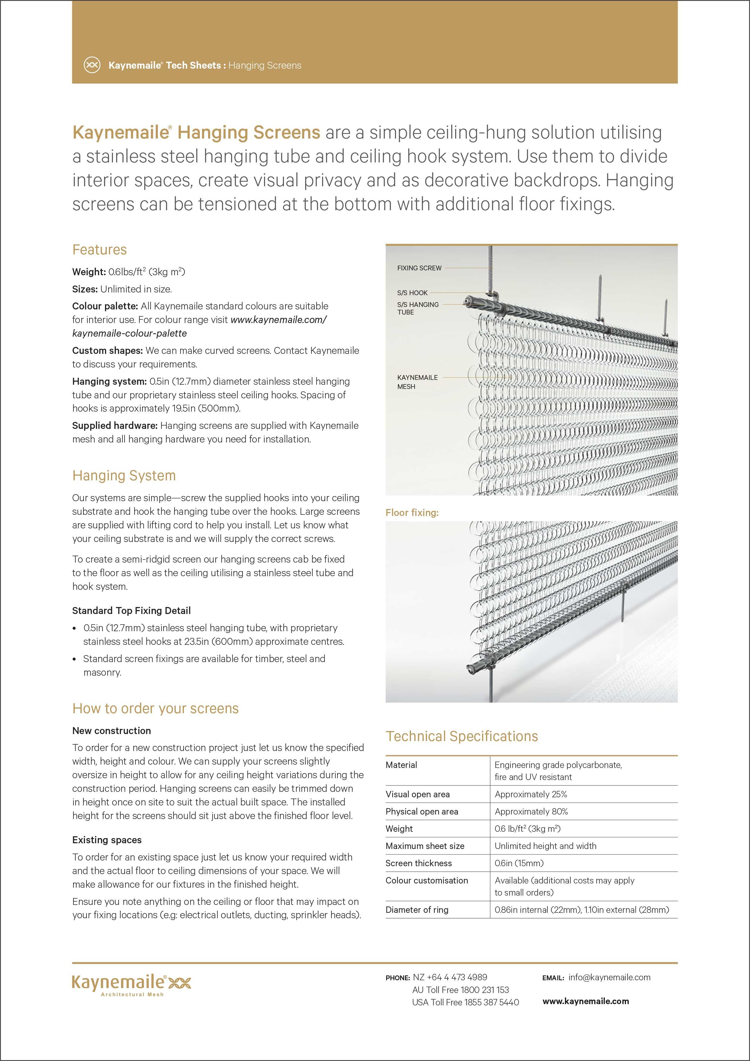 Hanging Screens Tech Sheet     Download →