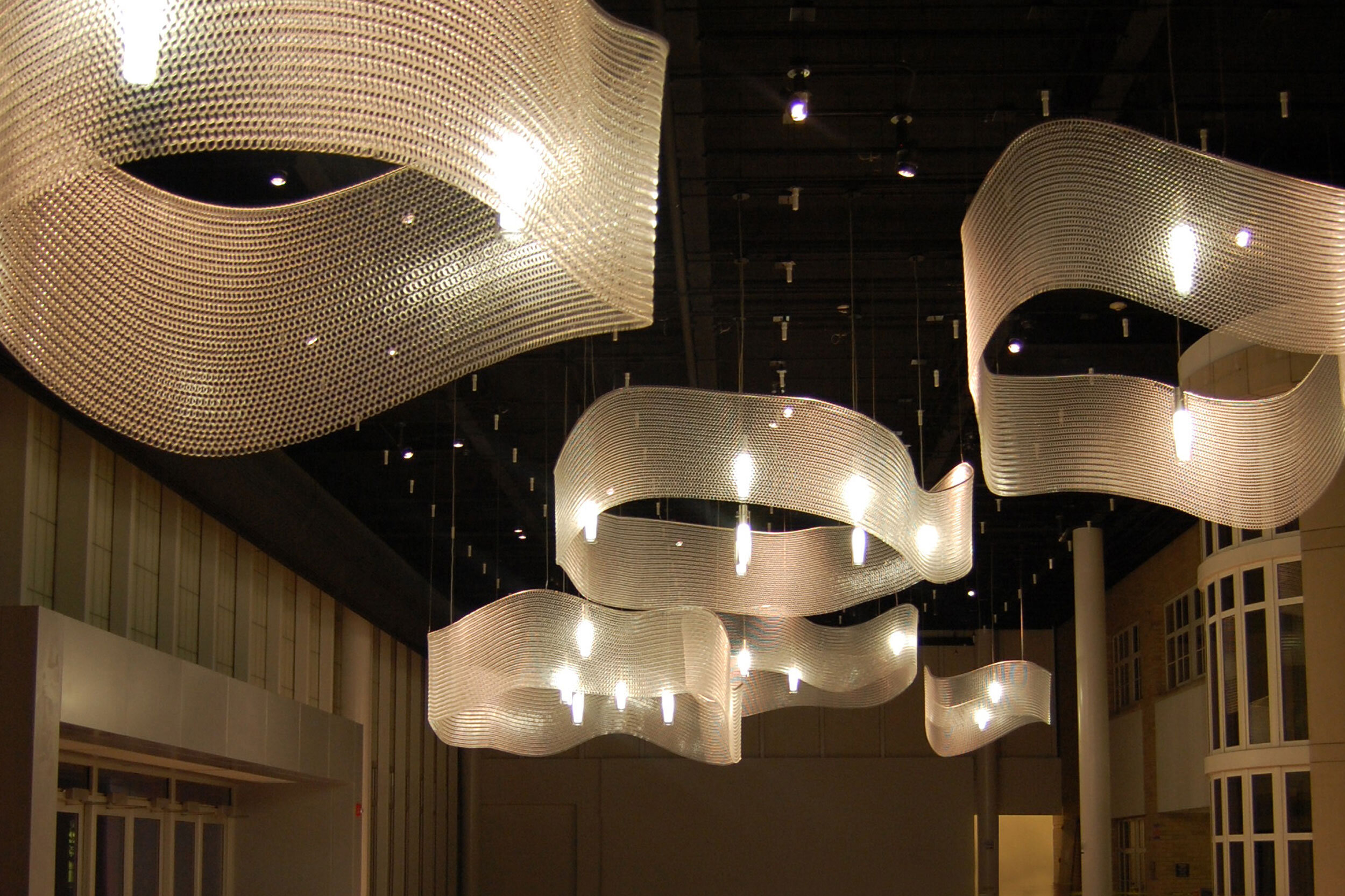 Lighting and Ceiling Features with Kaynemaile   Kaynemaile can be used for sculptural and decorative ceiling features or custom lighting pieces. Being highly malleable the options are endless!