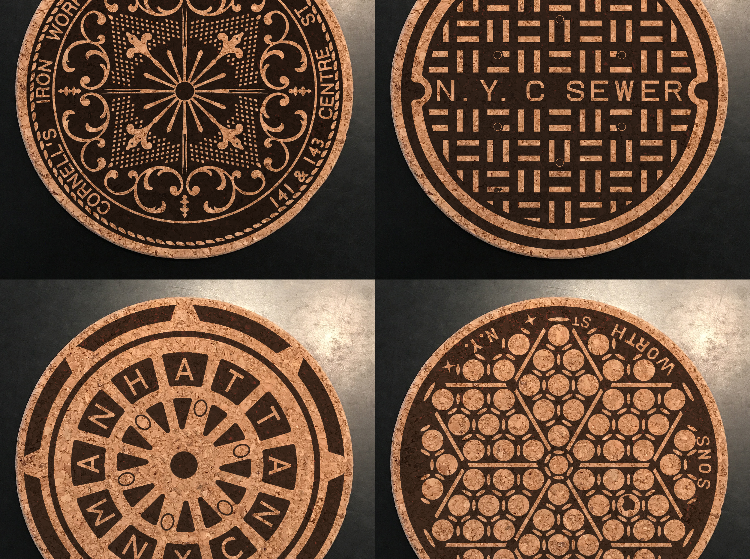 NYC Streets coaster sets and manhattan trivets now @ the tenement museum in NYC - The NYC street series is based on the manhole covers within walking distance from the Tenement Museum.