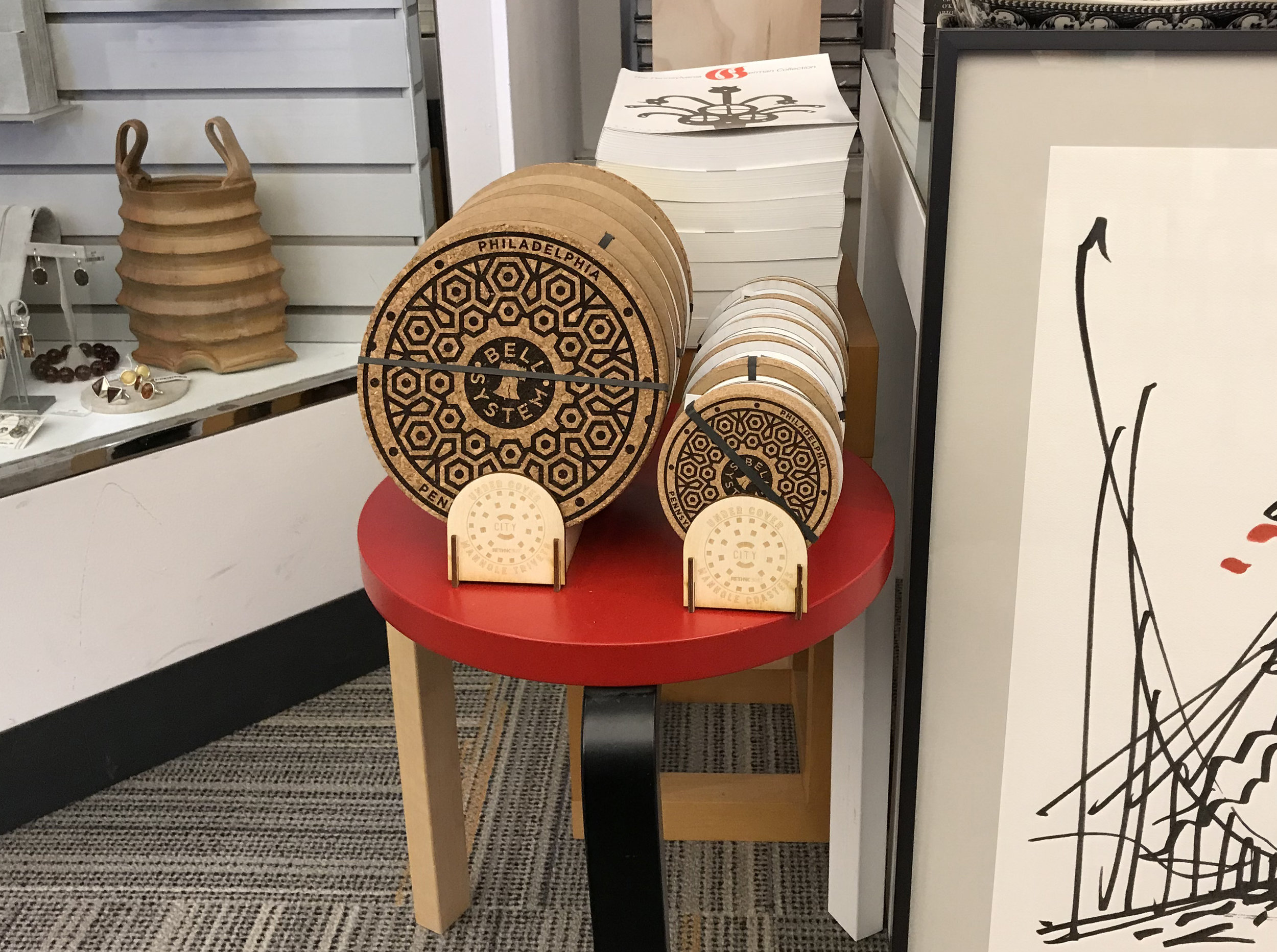 The philadelphia phever coaster series and trivets are now available at the philadelphia museum of art. - All purchases at the PMA Store benefit the museum's operations and extraordinary cultural collection, so show some brotherly love and pick up a set.