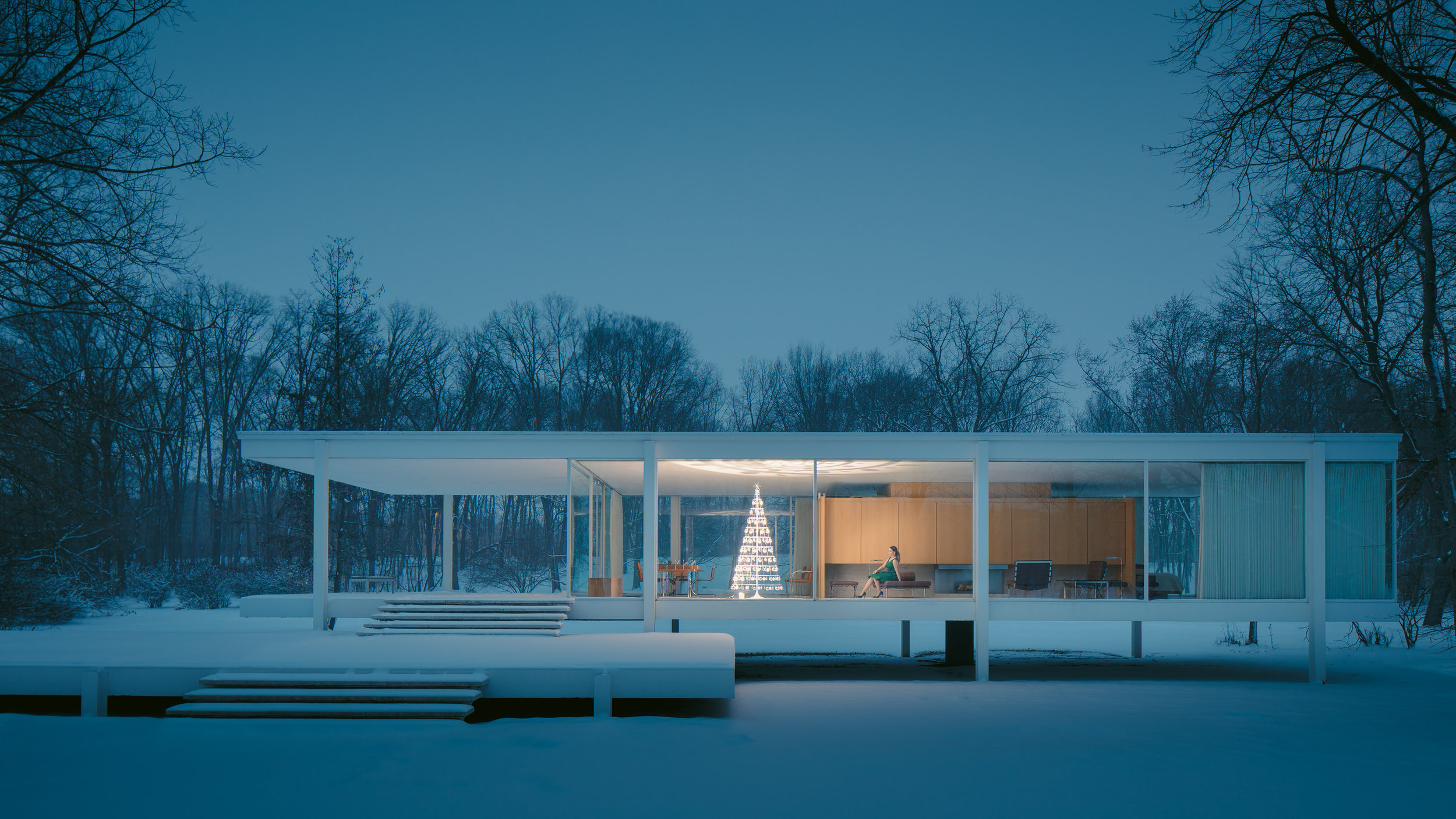 Farnsworth House by Mies van der Rohe : Images © JC Buck + © Courtesy of The Modern Christmas Tree.