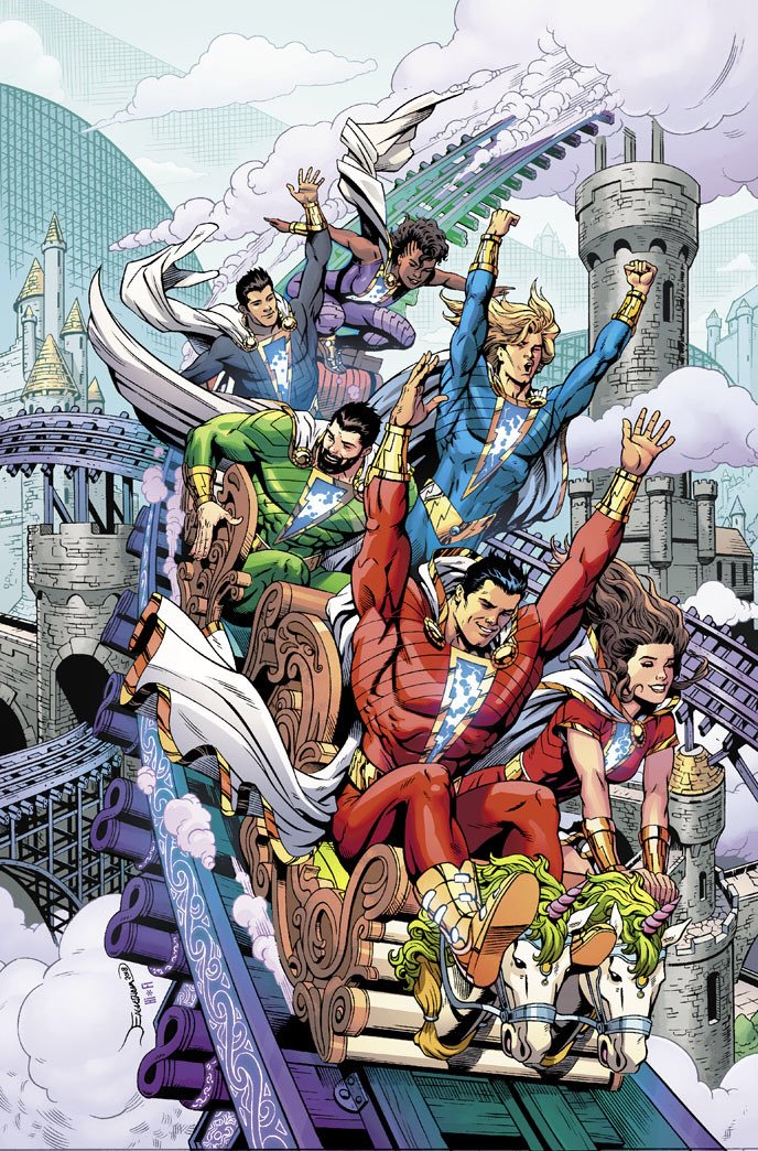 The New 52 Shazam Family. Disregarding theme park safety rules since 2011.