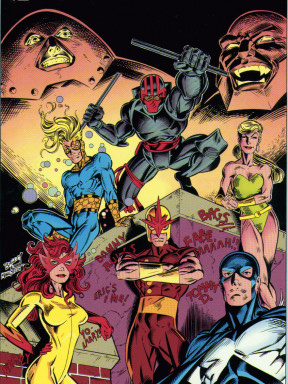 Speedball and the original New Warriors. The graffiti consists of the members of the creative team.