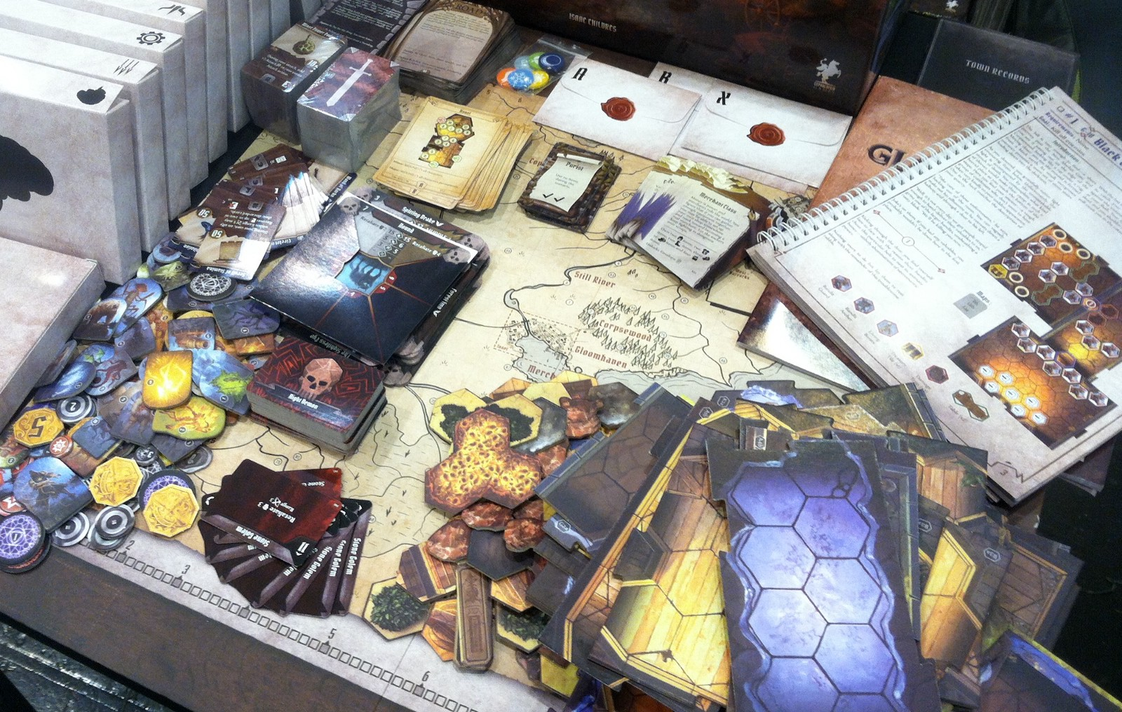 Just some of the components you get in the Gloomhaven base set.  It's a whole lot of game!