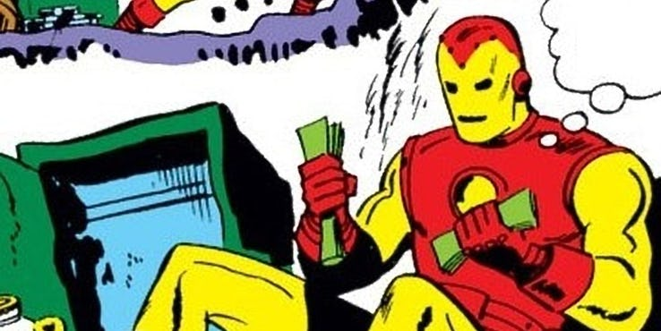 """Weasel"" Wills using the Iron Man suit to rob a bank. Not one of Tony's greatest masterminds…"