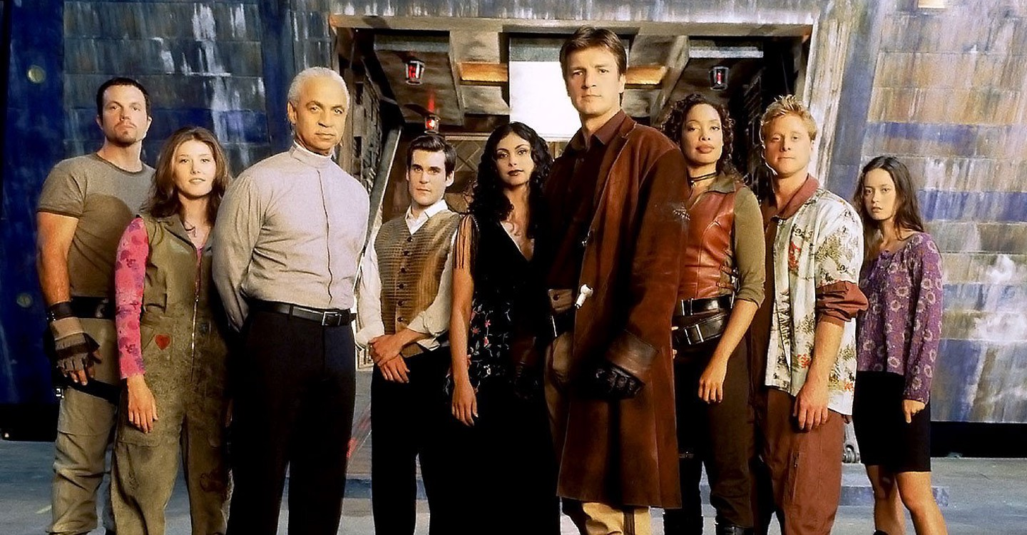 From Left to Right: Jayne, Kaylee, Book, Simon, Inara, Mal, Zoe, and Wash. Our intrepid crew.