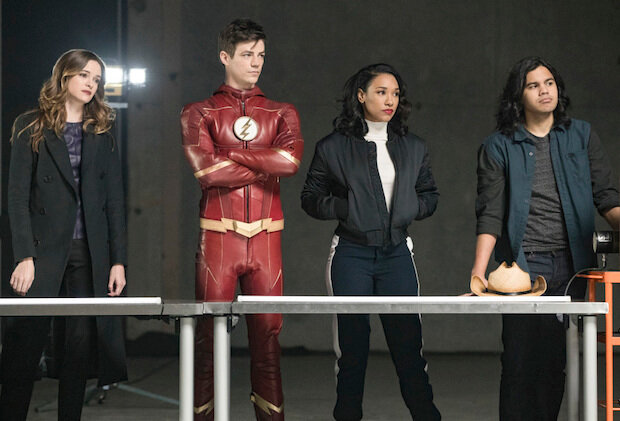 Team Flash (or, at least some of it). From Left to Right, that's Caitlyn, Flash (duh), Iris, and Cisco.