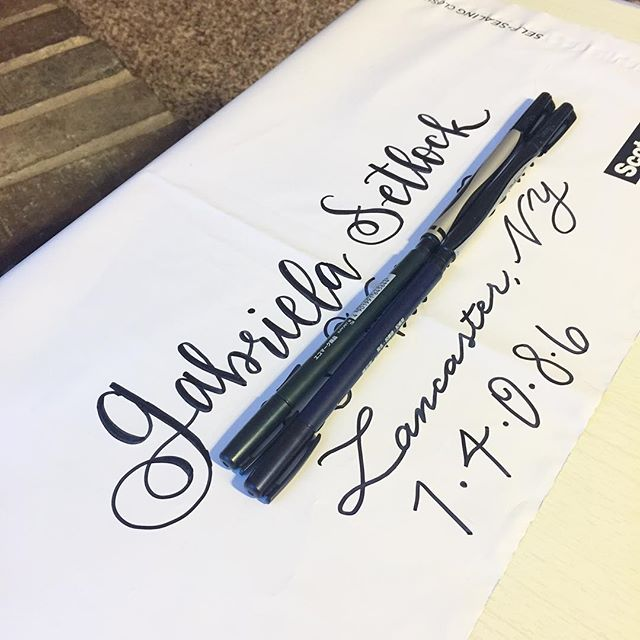 Even fun mail for a new baby gets calligraphy on their mail! I sent mail to a business the other day and couldn't keep from writing a few flourishes. - I want to start sending more mail to my friends and family, even if it's just an excuse to decorate the envelopes! Everyone loves getting snail mail, right? - - - #luckyraindroplettering #moderncalligraphy #handlettered #handlettering #communityovercompetition #calligrafriends #typegang #livecreatively #moderncalligrapher #modernscript #letteringcommunity #letteringart #dailyinspiration #brushlettering #dailylettering #handmadefont #handtype #dailytype #thedailytype #typespire #handdrawntype #customart #TYxCA #goodtype #yesDNDfeatures #letteringco #typematters #typeyeah #showusyourtype #snailmail