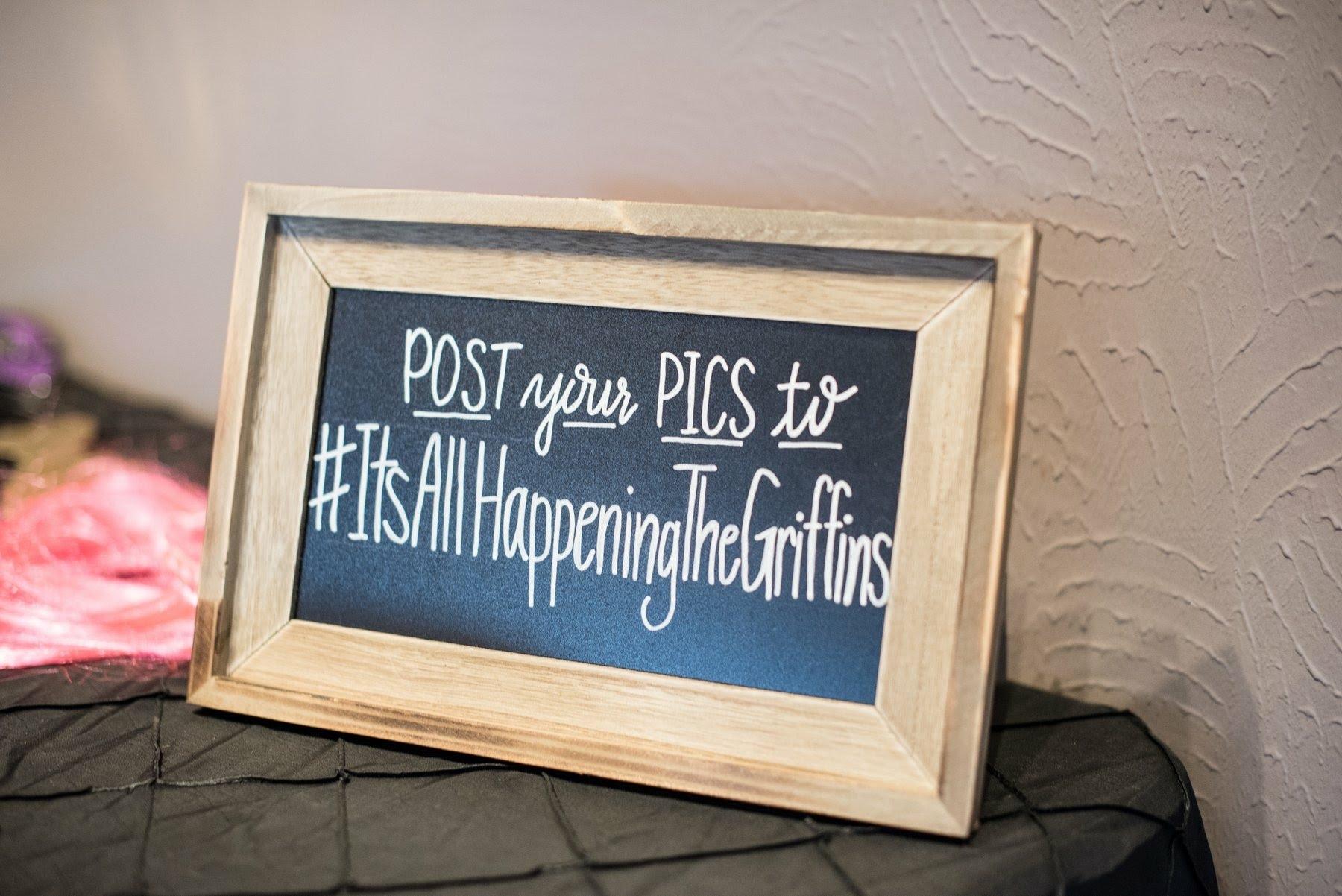 Social Media Hashtag Lettering Chalkboard Sign
