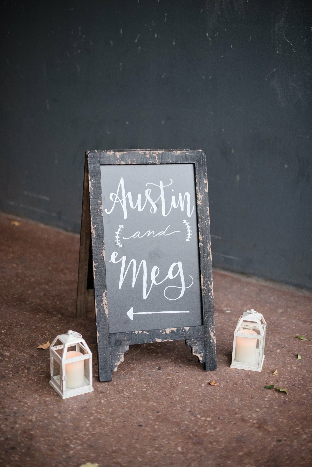 Bride and Groom Names Calligraphy Chalkboard Sign