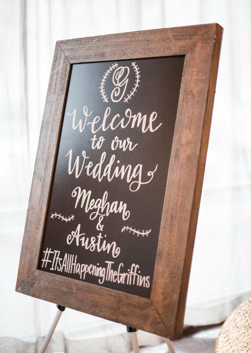 Welcome Wedding Calligraphy Chalkboard Sign