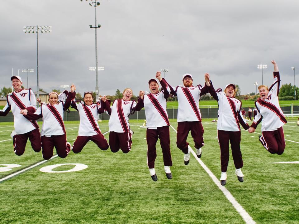 Courtney and fellow clarinet seniors jumping for joy on the MVC practice field; Source: Facebook