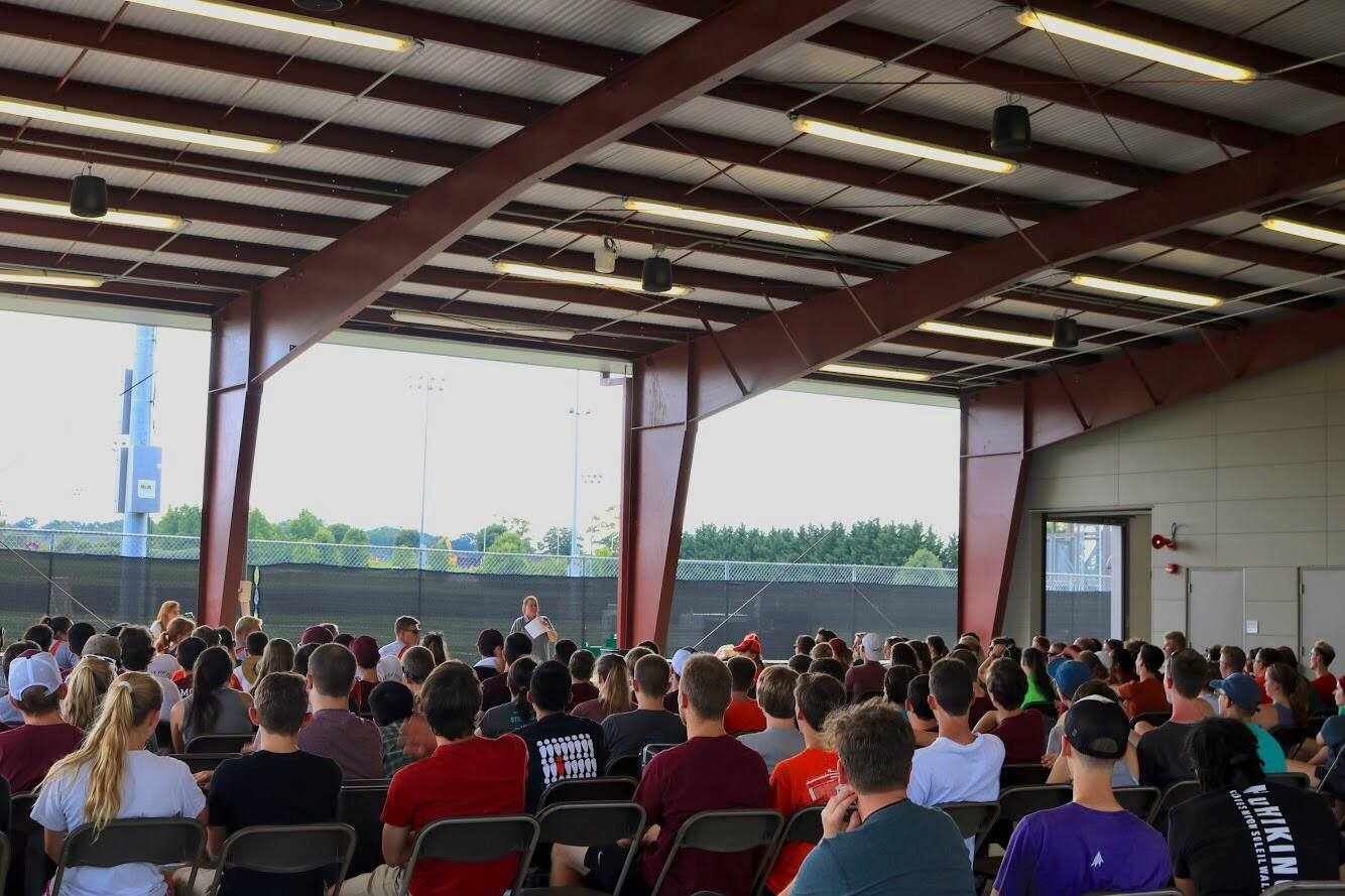 Director Polly Middleton addressing the band at the beginning of Band Camp 2018; Source:  Facebook