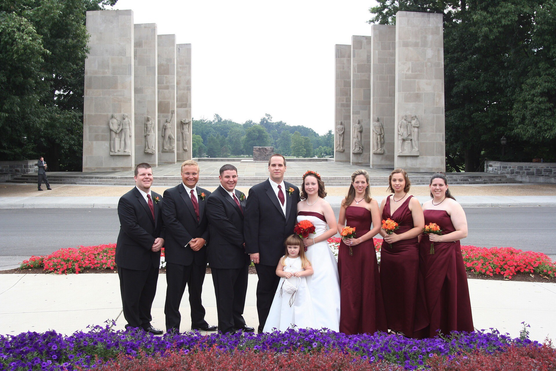 Yep, this is an actual photo from my wedding. Everyone was in The Marching Virginians and Kappa Kappa Psi/Tau Beta Sigma except the groomsman on the far left and the flower girl (who is now a teenager and has marched with the MVs at Band Day the last two years)