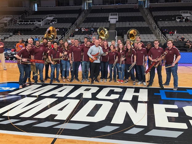 The Hokies Pep Band with Buzz Williams in San Jose; Source: Chad Reep