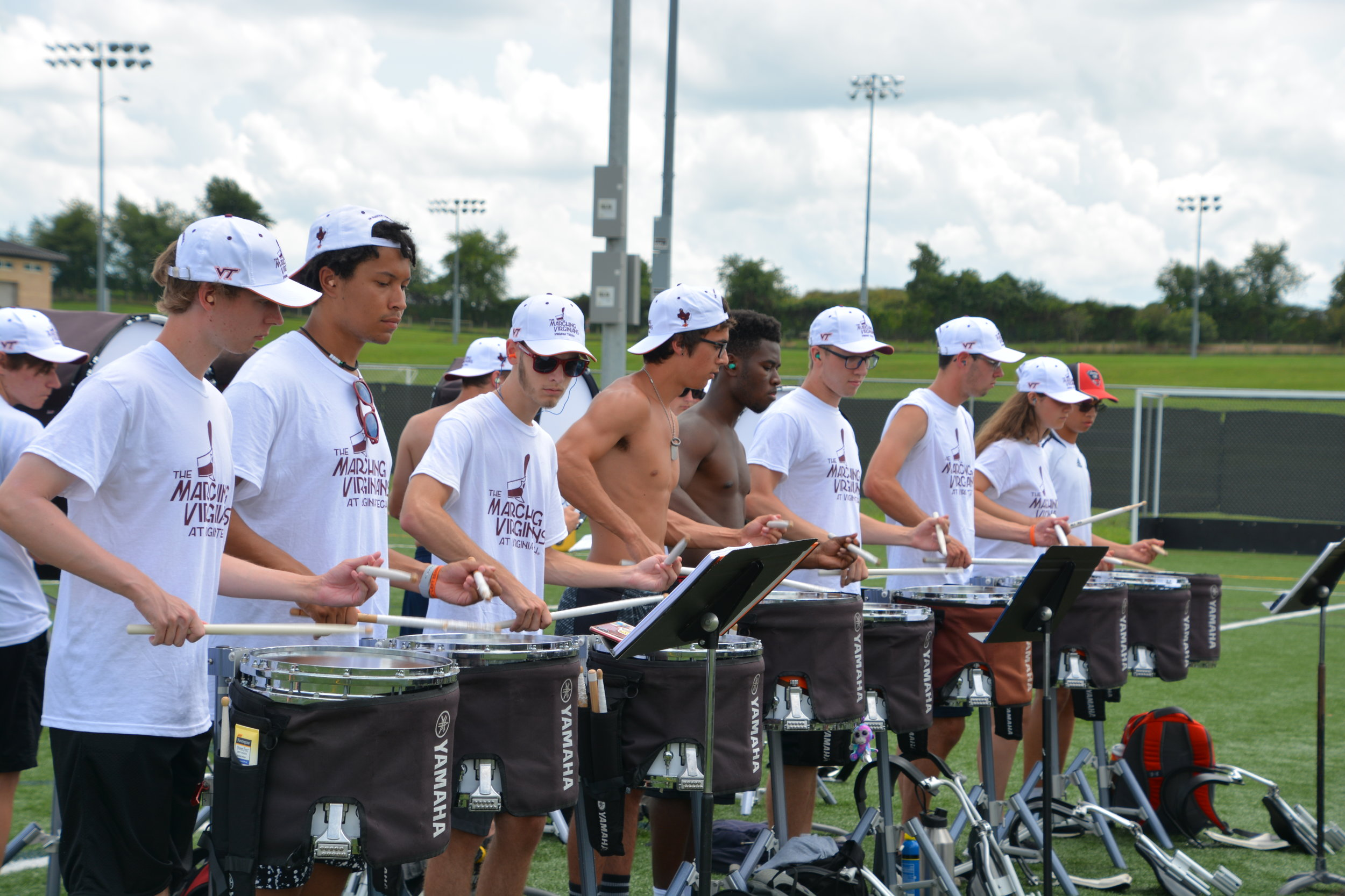 The snare line practicing during band camp; Source: Bob White