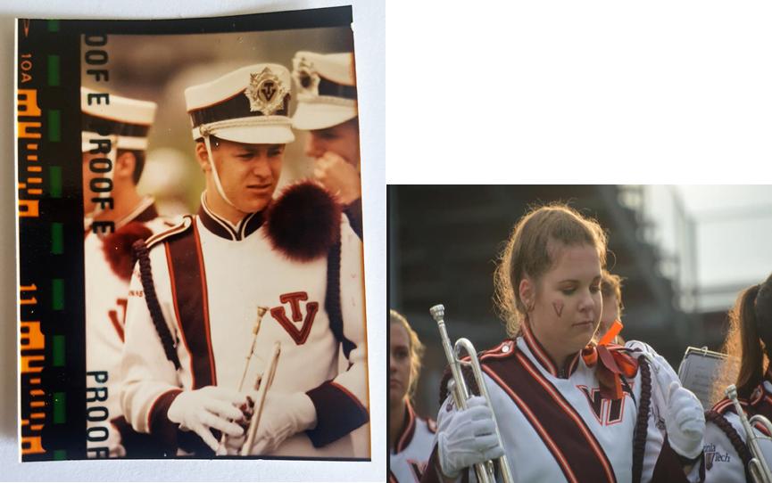 Senior Zoe Moeller and her father in The Marching Virginians years apart; Source: Zoe Moeller