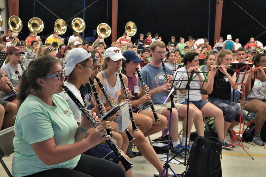 The clarinet section practicing during band camp on a hot mid-August night; Source: Facebook