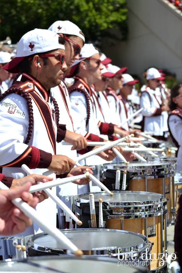The Virginia Tech Drumline, doing what they do best during the game; Source: Bri Dazio