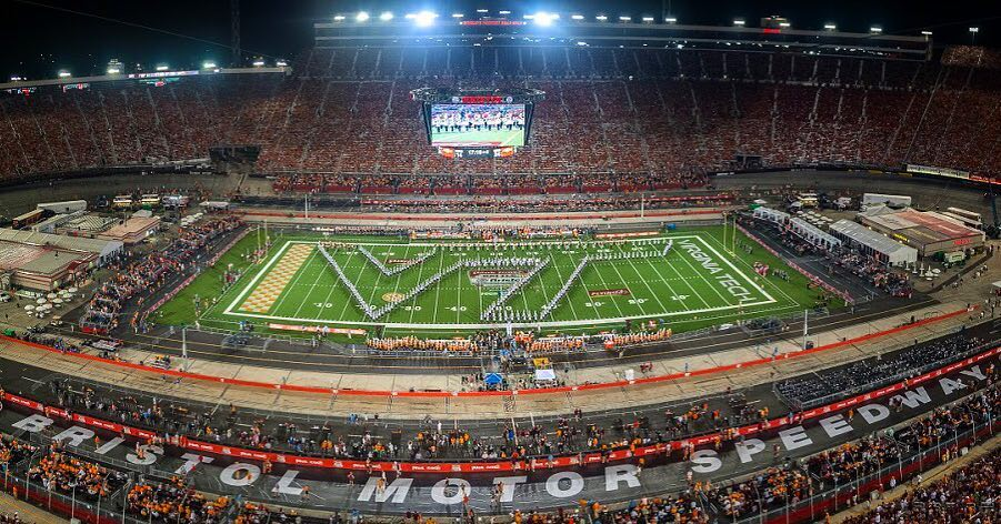 Marching Virginians creating a VT on the field at the Battle at Bristol, The Guinness World record holder for the highest attendance at a collegiate football game; Source: Facebook
