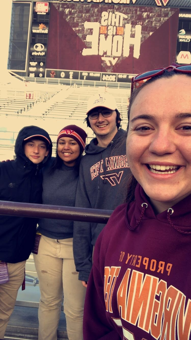 Selfie of Noelle, Harrison, Mariah, and Tyler (right to left) during the 2018 Homecoming Game; Source: Noelle Baxter