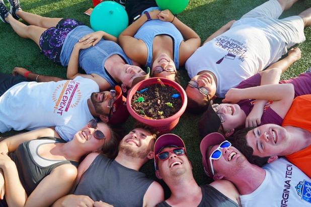 Saxophone rank surrounding their carrot pot filled with mini dinosaurs; Source: Spirit of Tech Facebook