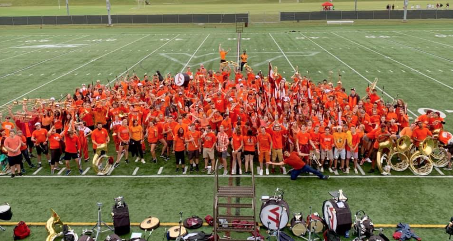 Saturday was Virginia Tech's Orange Effect game. While the band may have been in uniform on Game Day, they were certainly in the spirit on Friday's practice; Source: Alana Hassett