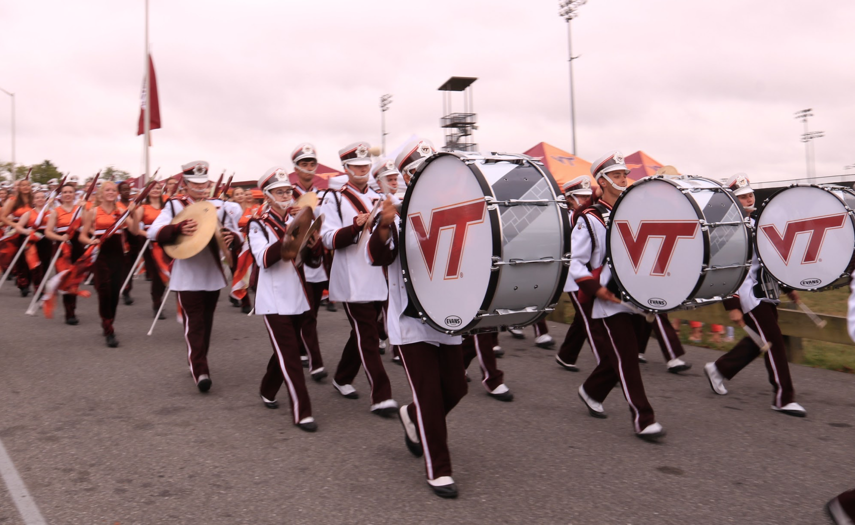 The drumline leading the band in the March to Victory; Source: Ashley Deans