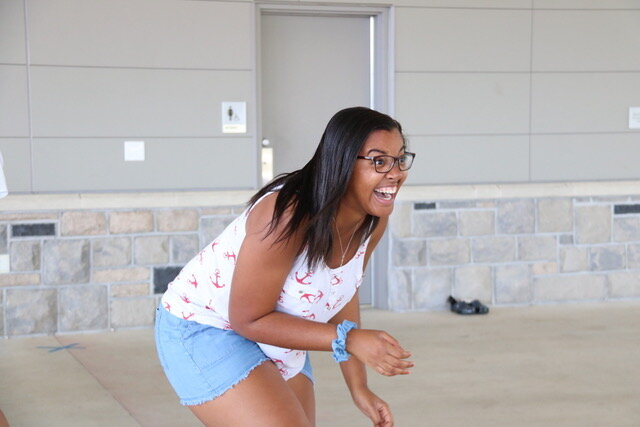 Jada Braxton, one of the MV Pix, laughing after trying out a new set of dance moves; Source: Emery Poulsen