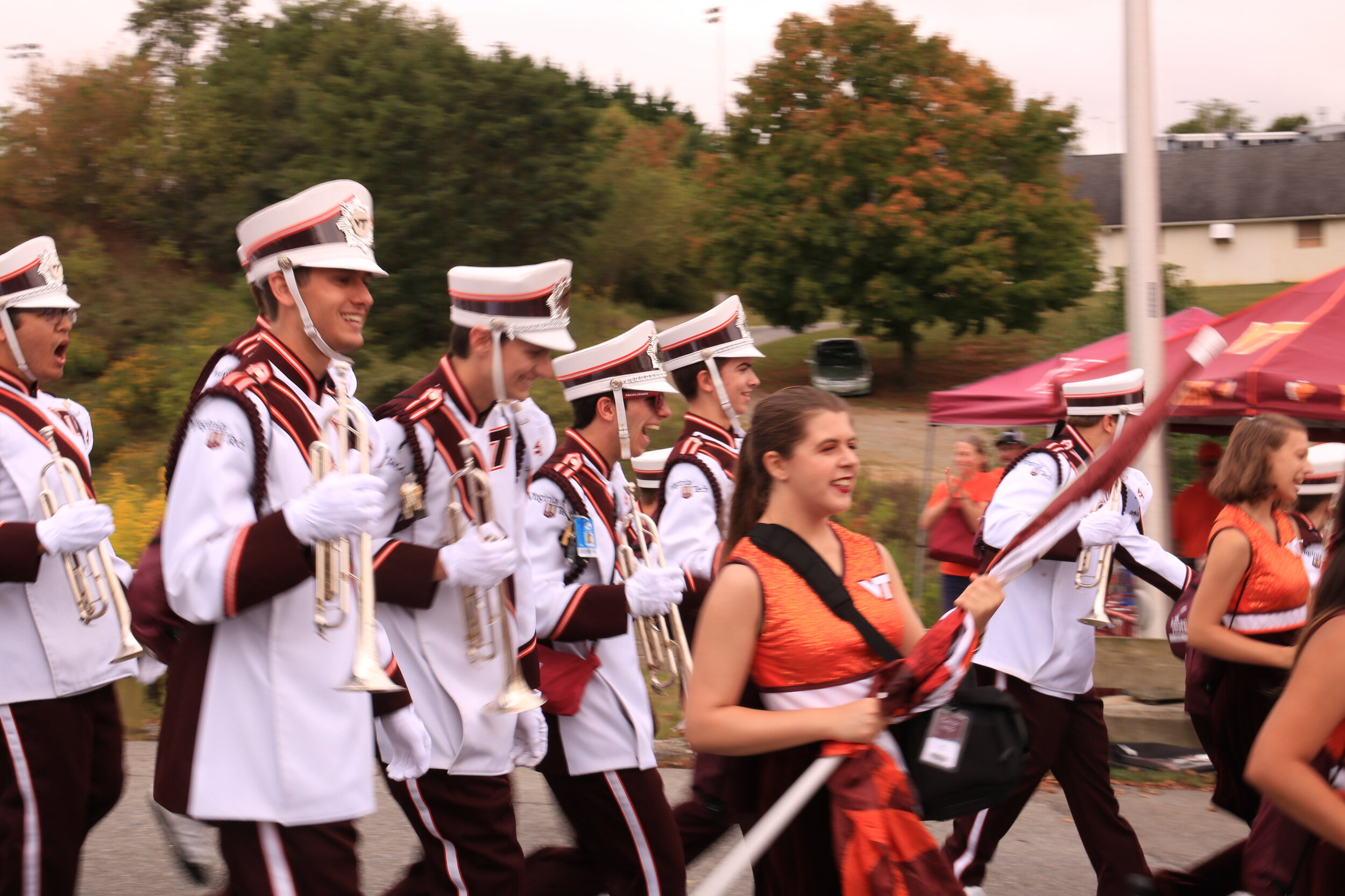 It may be a bit of a walk, but everyone has fun during the March to Victory down to Lane Stadium; Source: Ashley Deans