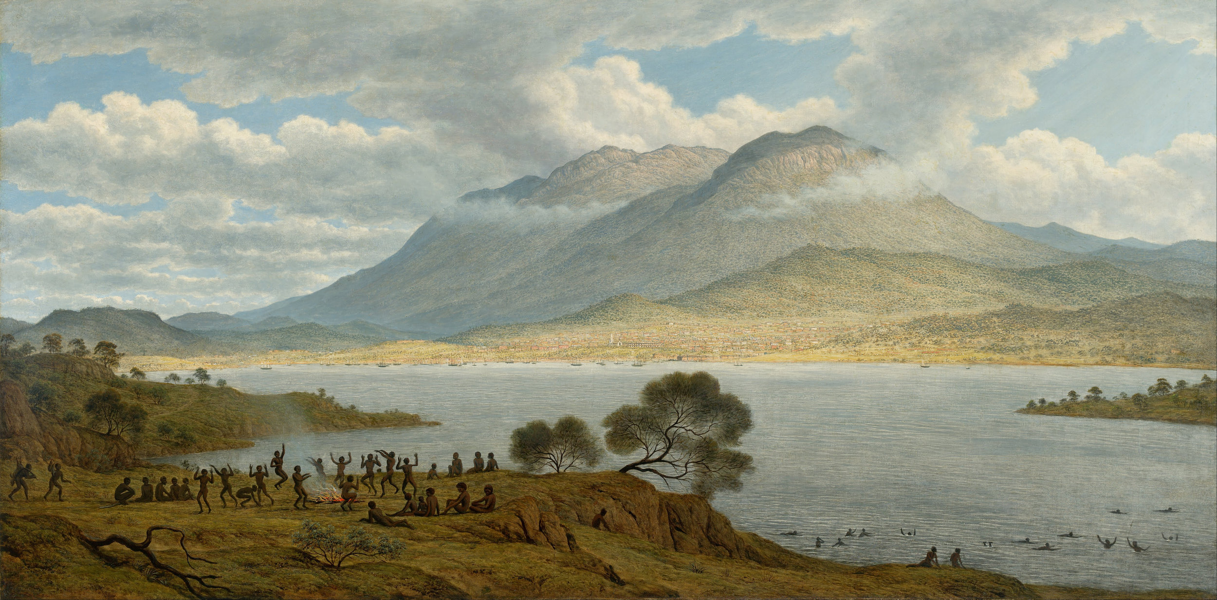 Figure 1:  Mount Wellington and Hobart Town from Kangaroo Point  (1831-33) by John Glover. Glover's painting was created at a time when most of the indigenous people of Tasmania had already been either murdered or incarcerated.