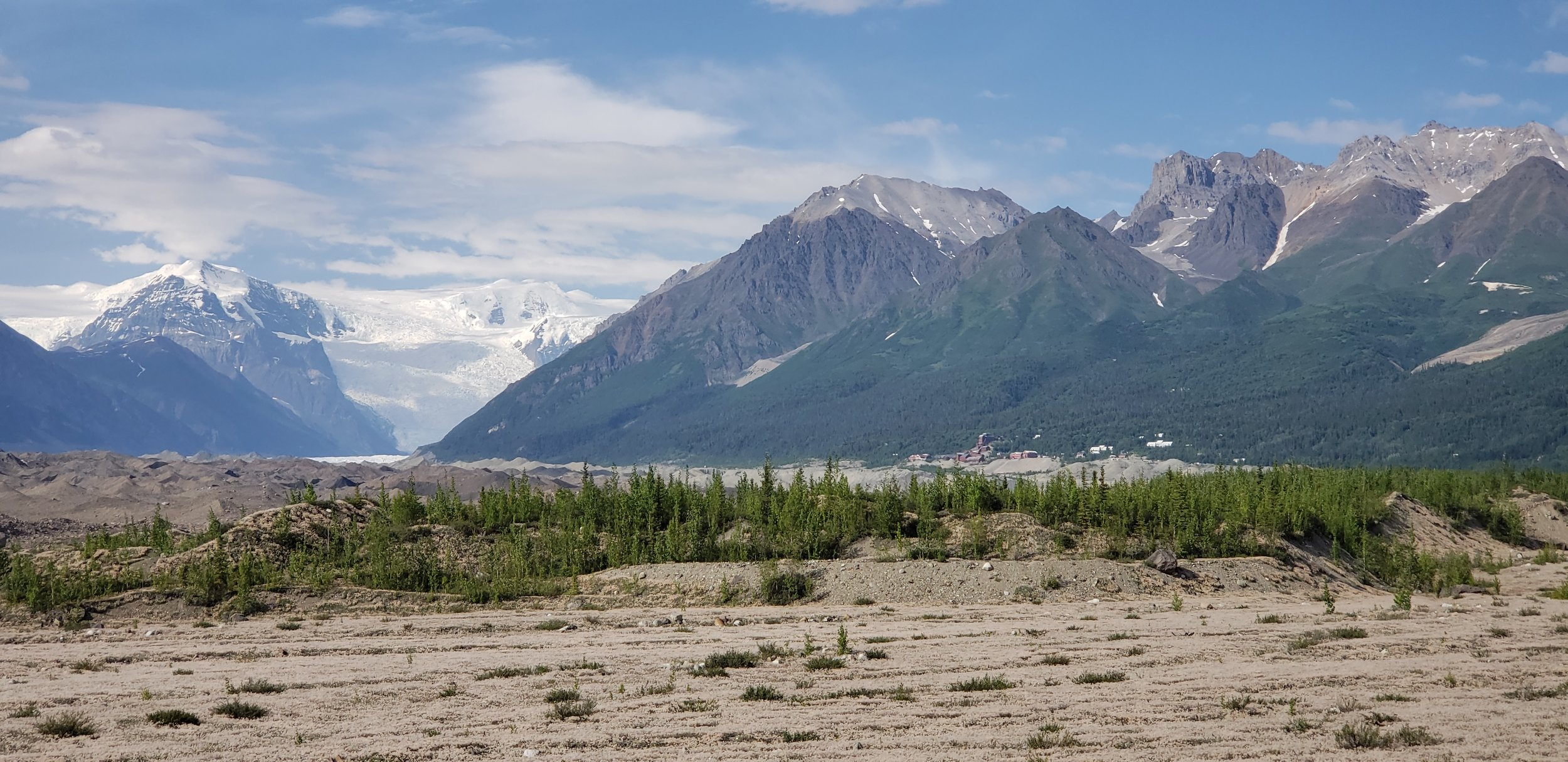 View of Kennecott from the toe of the glacier