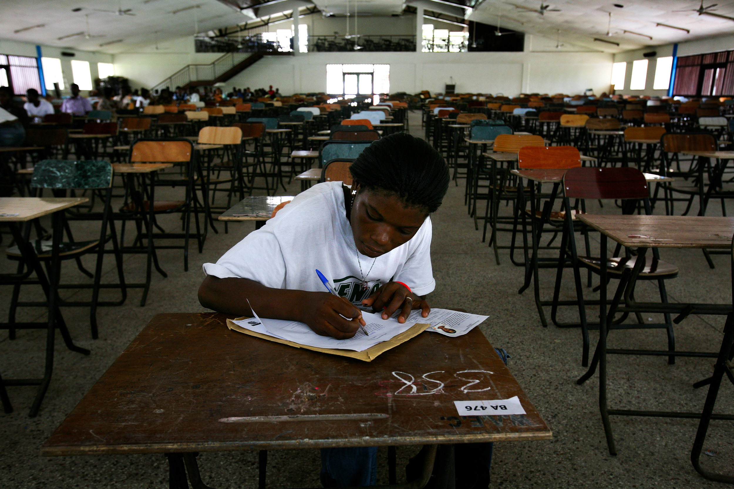 Lamisi  registers for training college entrance exams in Accra, Ghana on March 17, 2009.
