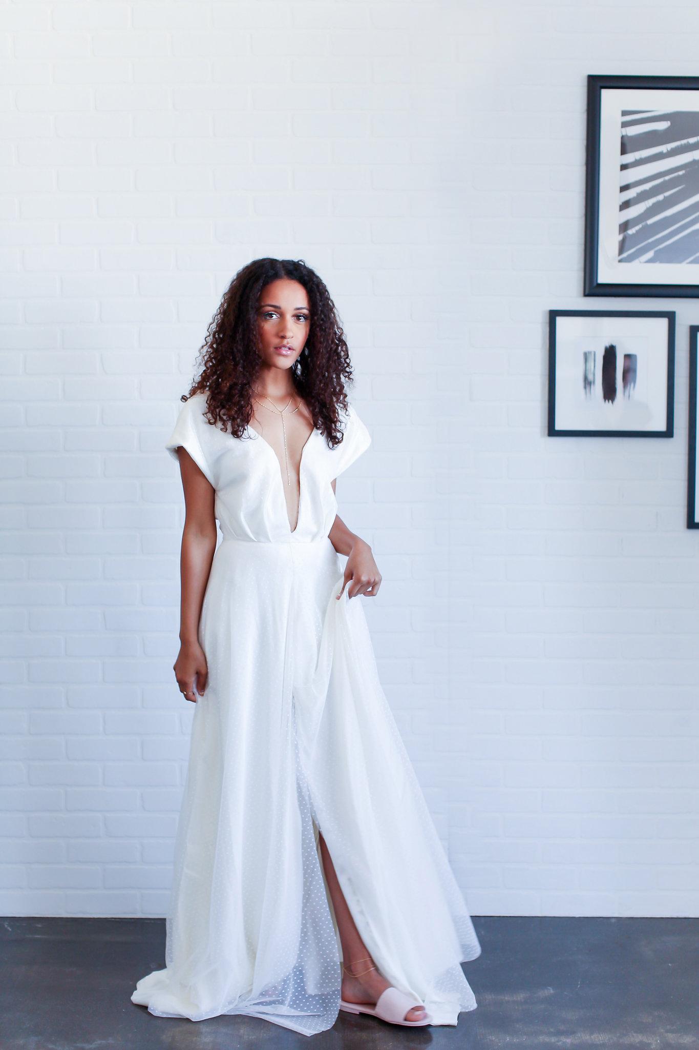 ivory swiss dot- wedding dress- high slit- deep v-white .jpg
