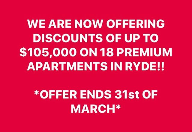 Call 1300 014 042 to take advantage of this offer*! Available for all sales unconditionally exchanged by 31st of March. *T's & C's apply . . . . . . . . #sydneyrealestateagents #sydneylifestyle #sydneyproperty #sydneylife #realestateagent #realestateinvestor #property #propertyinvesting #propertyinvestment #propertyspeeddating #propertyconsultants #investment #investmentproperty #apartment #apartmentliving #offtheplan #discount #expert #sydneyapartments #firsthome #firsthomebuyer #firstclasslifestyle #lifestylebydesign #luxurylifestyle