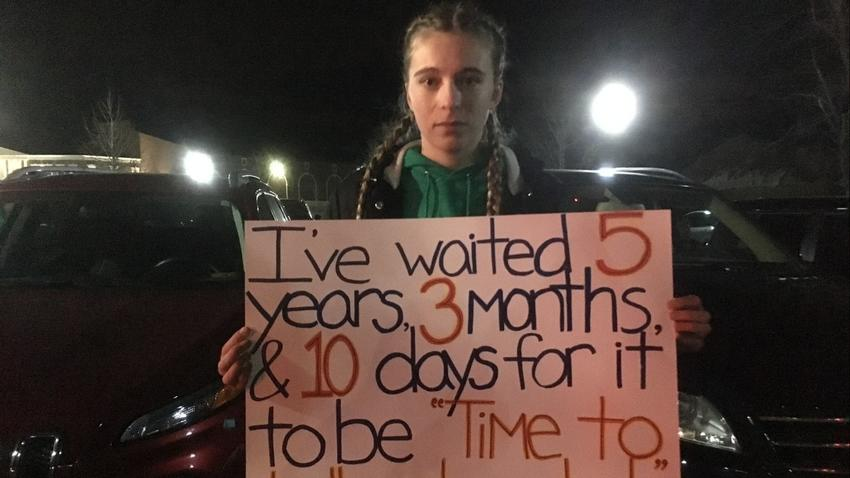 Mia DiScipio, 21, of Easton - a small community that neighbors Newtown - experienced a school lockdown just after the Sandy Hook massacre. (Rebecca Lurye)